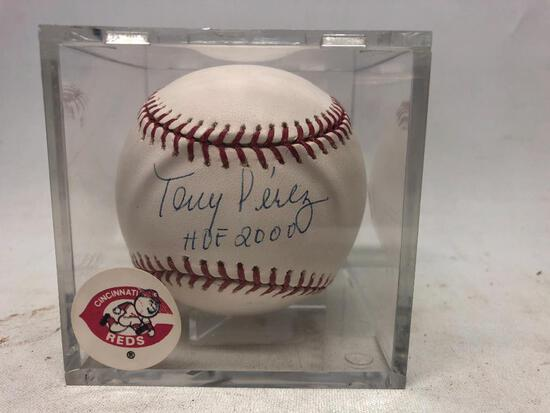 Signed Tony Perez Baseball in Plastic Case with Certificate from Tristar