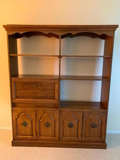 Large, Pressed Wood, Desk and Shelving Unit