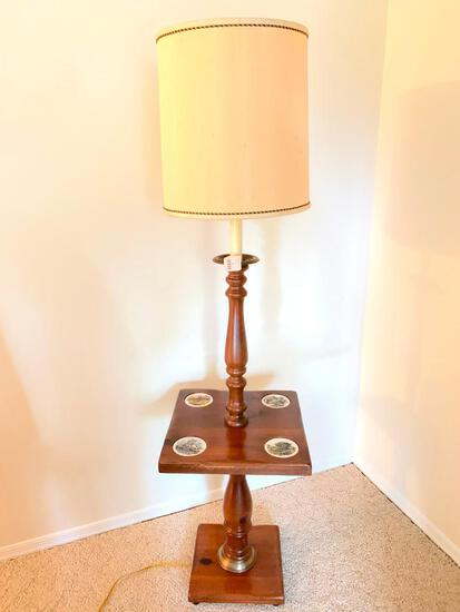 Vintage, Pine, Floor Lamp with Table Section and Cup Holders