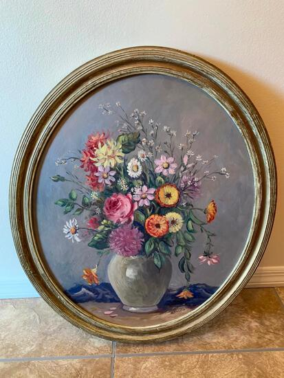 Hand Painted, M. Arnold, Round, Oil on Board, Still Life Painting