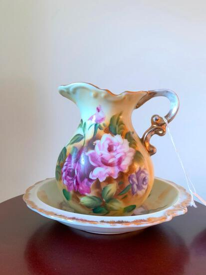 Small, Floral, Porcelain, Pitcher and Bowl Set