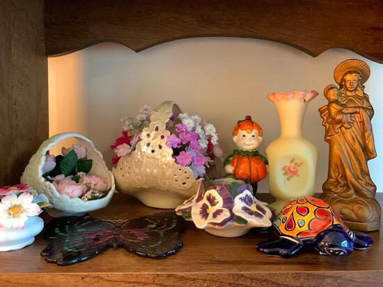 Shelf Lot of Porcelain and Small Vases and More