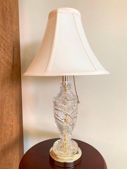 """Small Glass Table Lamp, 20"""" Tall"""