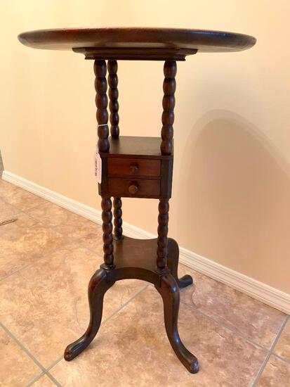 Round Top, Antique, Solid Mahogany Table with Two Small Drawers