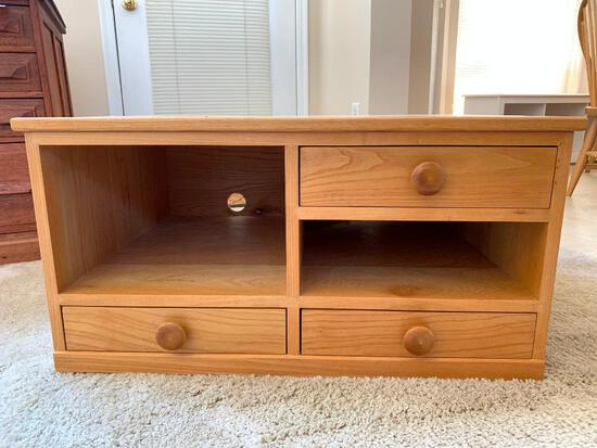 Small Wood Entertainment Unit with Drawers