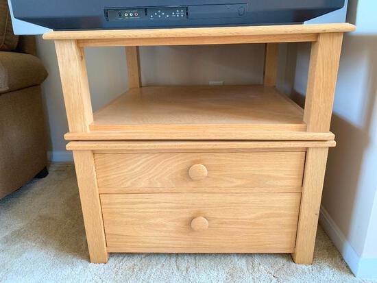 Wood, Carrousel End Table/Entertainment Unit