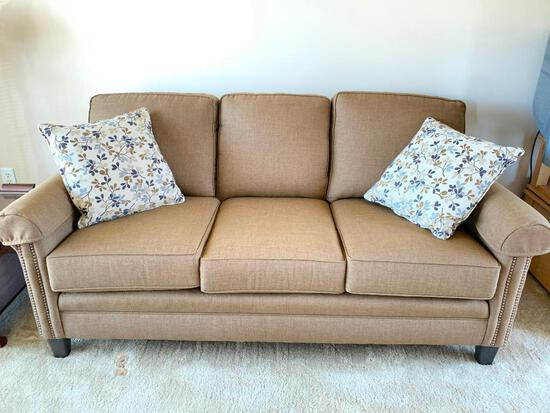 Smith Brothers, Mid Size Sofa,  The Manufacturer Description is  Mocha, Antique Brass Nail Head