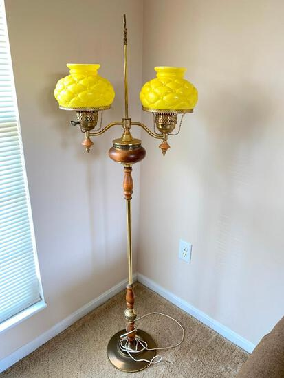 Vintage, Wood and Brass, Floor Lamp