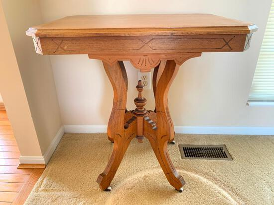 Antique Lamp Table with Porcelain Casters
