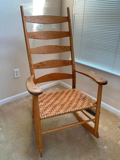 Antique, Oak Shaker Style Rocking Chair with Woven Seat and Ladder Back