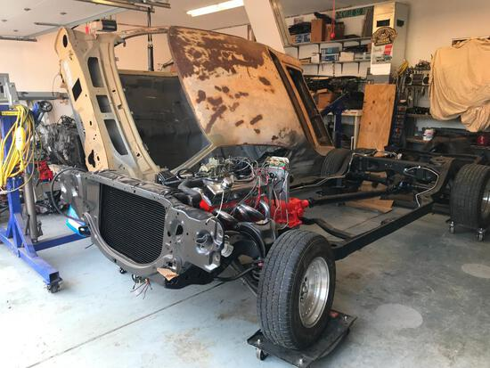 1970-72 Chevelle Rolling Chassis, Motor, Body on Rotisserie, Doors and Trunk
