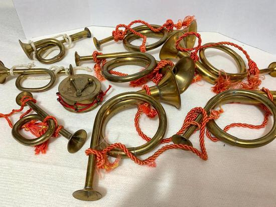 9 Pieces of Solid Brass Horns and Drum