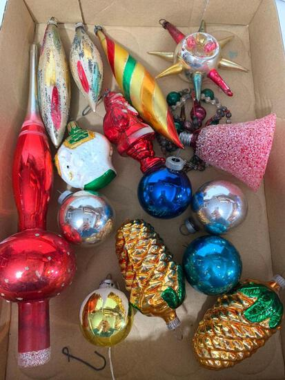 Lot of Vintage Christmas Ornaments and Tree Topper