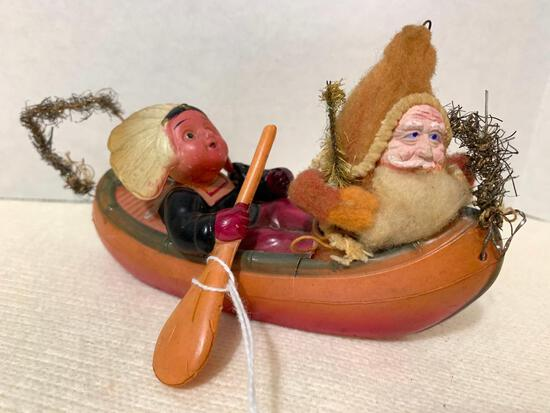 Vintage Indian and Woodsman in a Canoe Ornament