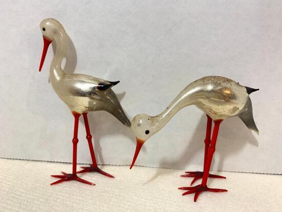 Set of 2 Glass Flamingo Like Birds
