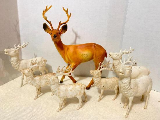 Lot of 7 Vintage Plastic Reindeer