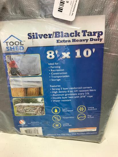 Silver/Black 8' x 10' Tarp New