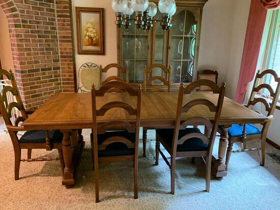 Oak Finish Table and 6 Chairs