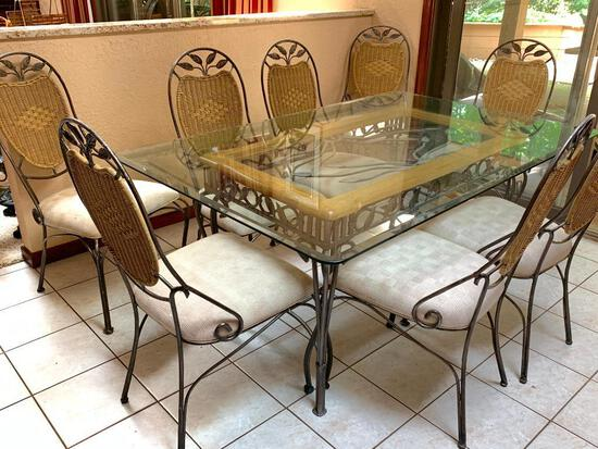 Glass top and Wrought Iron Table and 8 Chairs