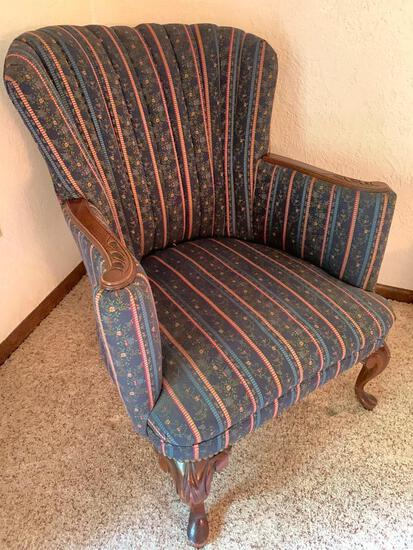 Vintage, Wingback Chair with Carved Arms and Legs