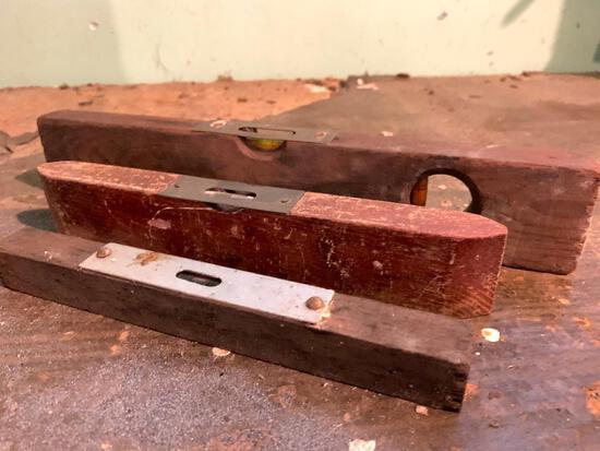 Three Vintage Wood Levels