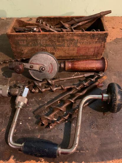 Antique Brace and Bit; Drill and Bits as Pictured