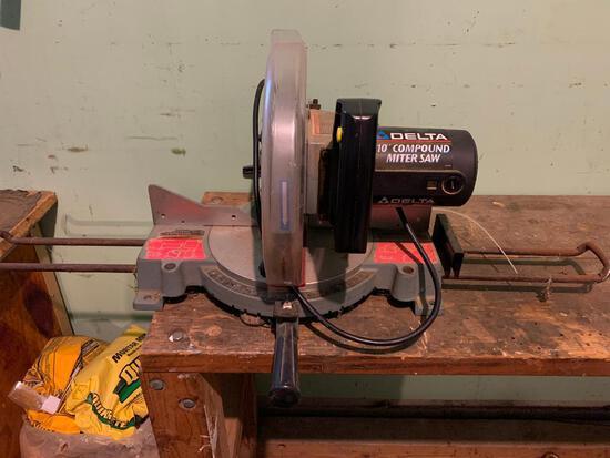 """Delta, Model 36-220 Type 3, 10"""" Compound Miter Saw, Working"""