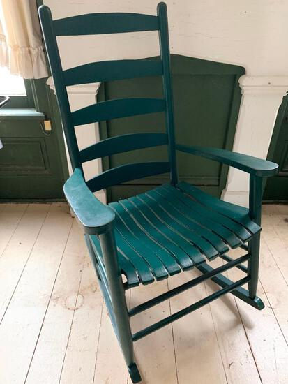 Painted, Ladder Back, Antique Green Rocking Chair