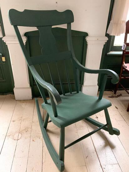 Painted Green, Antique Rocking Chair