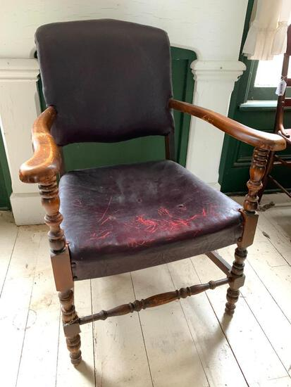 Antique, Wood and Leather Arm Chair