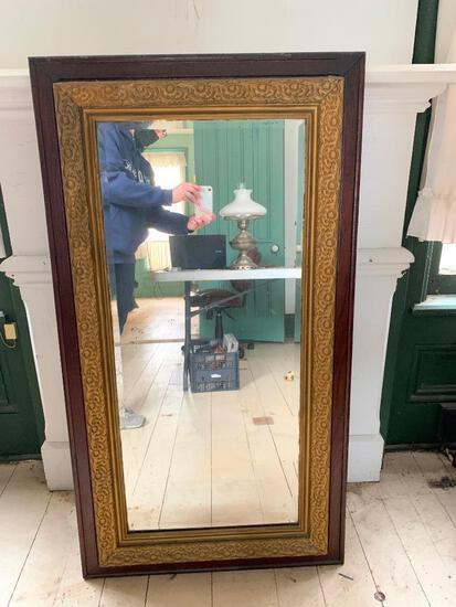 Large, Vintage, Wood Framed Mirror as Pictured