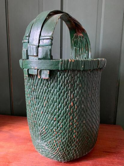 Vintage, Painted Green Basket with Interesting Handle