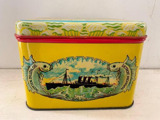 Vintage, Oceanic Cut Plug Tobacco Tin, Detroit MI