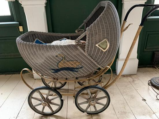 Antique, Wicker Baby Carriage