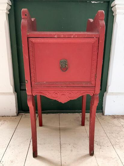 Small, Copper Lined and Wood Smoking Stand