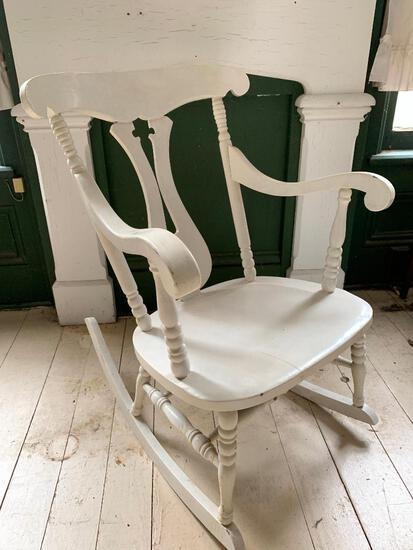 Painted White, Antique Rocking Chair