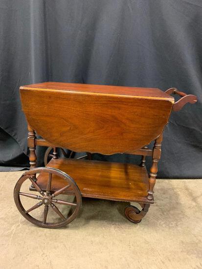 Vintage Mahogany Drop Leaf Tea Cart