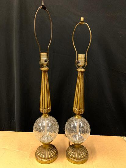 Pair of Mid Century Modern Crackle Glass Detail