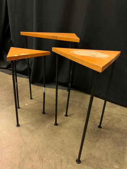 Set of Triangle Nesting Wooden Tables. The Tallest is 2' Tall and the Smallest is Heavily Scratched