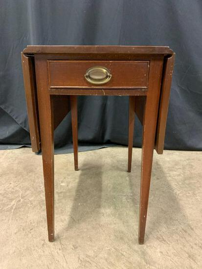 """Mahogany Drop Leaf Side Table with Single Drawer 26"""" Tall x 23"""" Deep x 3"""" Wide with Leaves Up"""