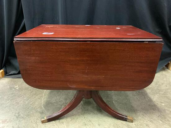 Mahogany, Duncan Fife Drop Leaf Table, The Top has Heat, Water Ring, Scratches, and Chips Damage