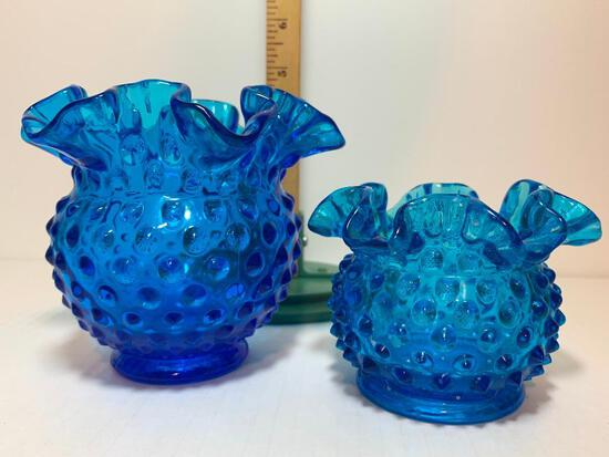 """Pair Fenton of Blue Hobnail Glass Vases. The Tallest Item is 4.25"""""""