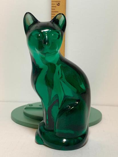 """Solid Green Glass Cat. This Item is 5"""" Tall"""