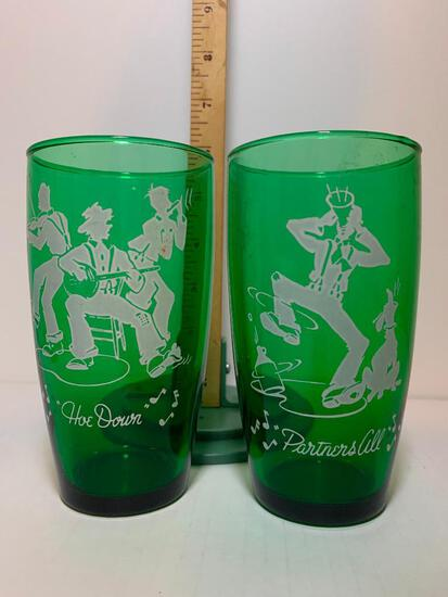 """Pair of Vintage Green Drinking Glasses Square Dancing. These Items are 5.25"""" Tall"""