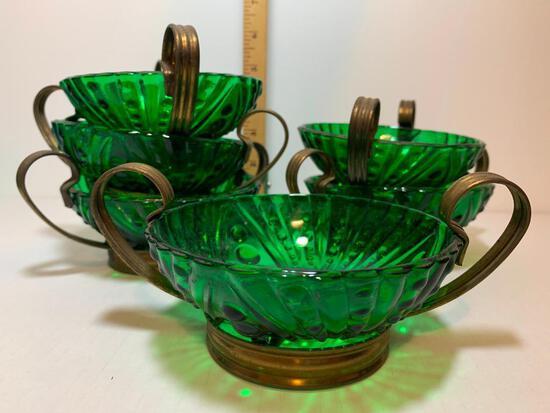 """6 Piece Lot of Forest Green Anchorglass Sherbert Bowls with Metal Handles 4.5"""" Diameter x 2"""" Tall"""