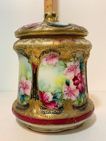 """Beautifully Detailed Biscuit Jar with Lid. This Item is 7.5"""" Tall"""
