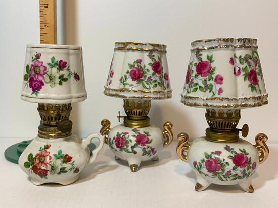 """3 Piece Lot of Porcelain Oil Lamps. These Items are 6"""" Tall"""