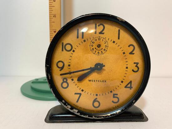 """Vintage Westclox Windup Metal Clock. This Item is 4.5"""" Tall"""