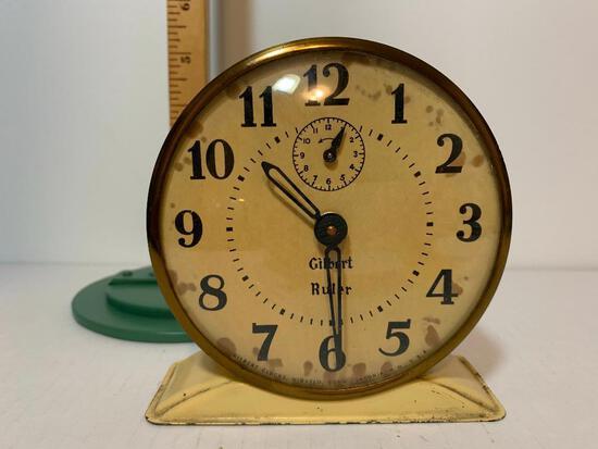 "Vintage Gilbert Ruler Windup Metal Clock. This Item is 4.5"" Tall"