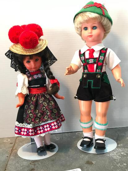 A Pair of Vintage Dolls as Pictured